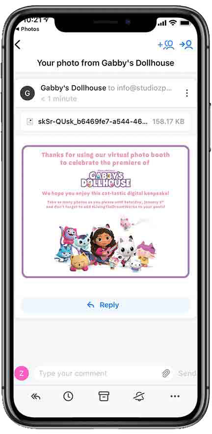 virtual photo booth email example